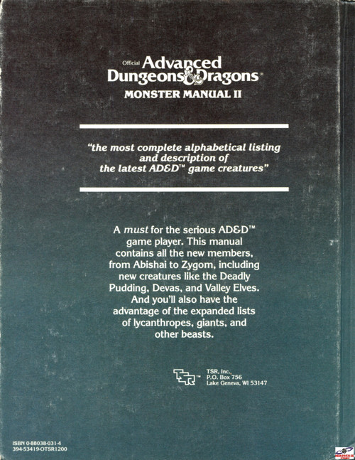 Monster Manual II 2 2nd Print 1st Edition Exc/Mint D&D