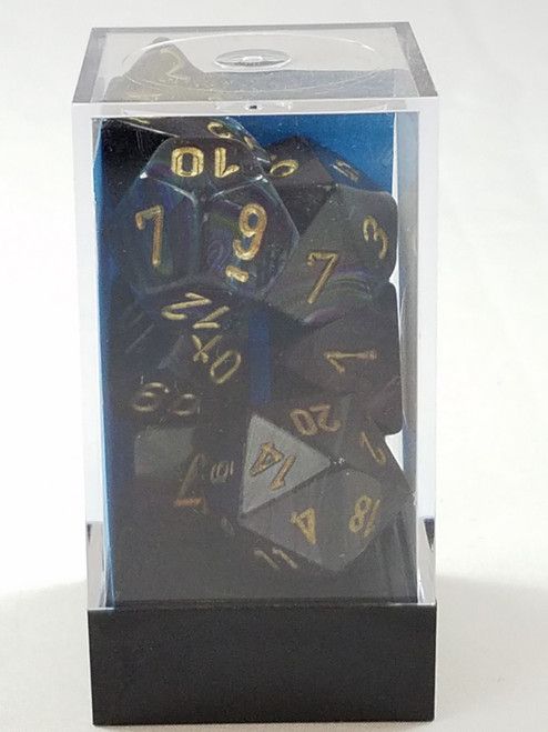 Chessex Lustrous Shadow with Gold Pips Polyhedral 7 Dice Set New