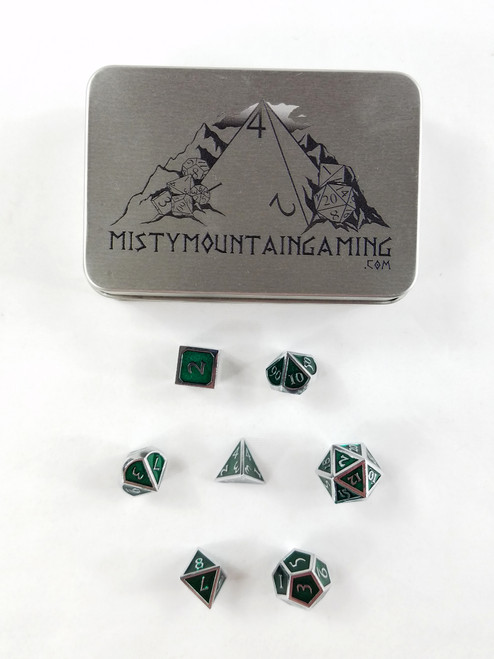 SOLID METAL DICE SILVER GREEN +CASE PREMIUM DUNGEONS & DRAGONS
