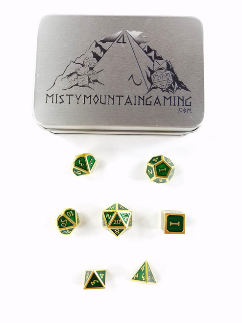 SOLID METAL DICE GOLD GREEN +CASE PREMIUM DUNGEONS & DRAGONS