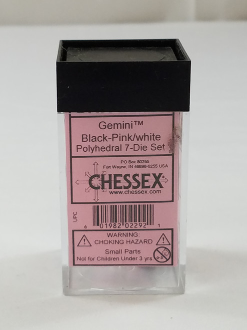 Chessex Gemini Black Pink with White Pips Polyhedral 7 Dice Set New