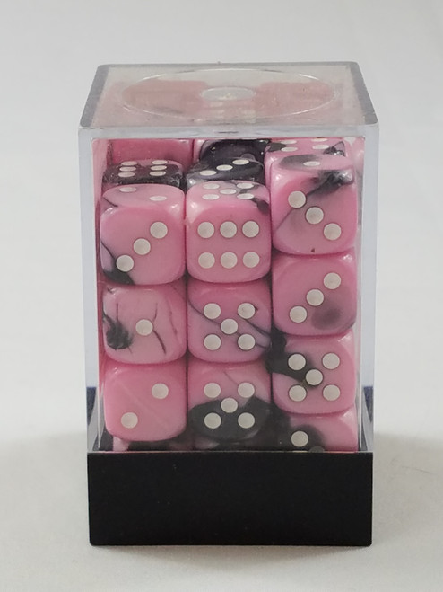 Chessex Gemini 36 d6 Pink with White Pips Polyhedral 7 Dice Set New