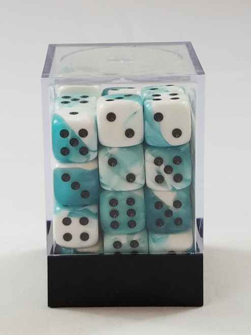 Chessex Gemini 36 d6 Teal White with Black Pips Polyhedral 7 Dice Set New