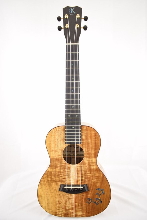 Kanile'a HNS-T-PREM : Premium Curly Hawaiian Koa Tenor Ukulele with Honu Inlay (24198) - Full Face