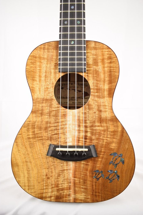 Kanile'a HNS-T-PREM : Premium Curly Hawaiian Koa Tenor Ukulele with Honu Inlay (24198) - Face