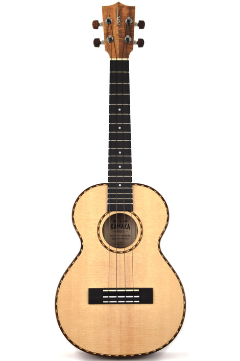 Kamaka HF-3DS : Sitka Spruce Top & Deluxe Curly Hawaiian Koa Tenor Ukulele (191539)