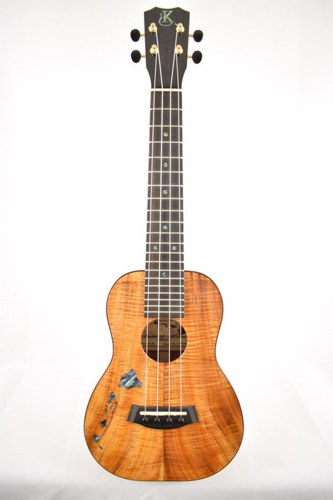 Kanile'a ISL-C-PREM : Premium Curly Hawaiian Koa Concert Ukulele with Hawaiian Islands Inlay (24199) - Full Face