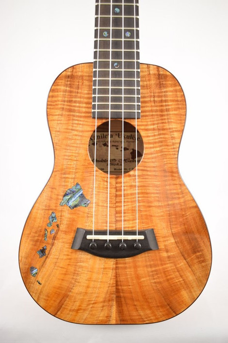 Kanile'a ISL-C-PREM : Premium Curly Hawaiian Koa Concert Ukulele with Hawaiian Islands Inlay (24199) - Face