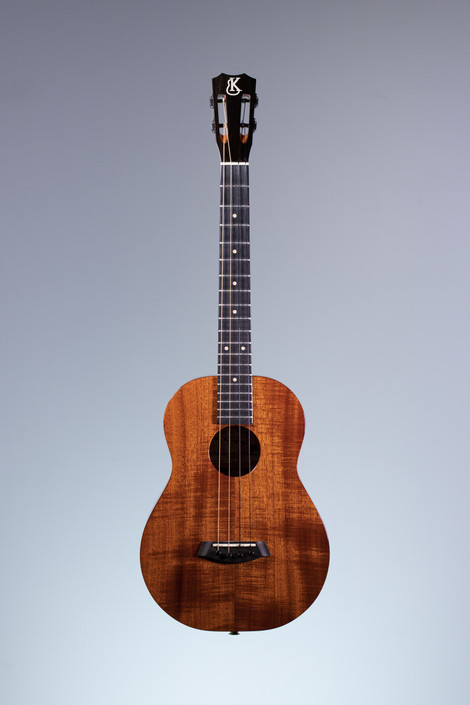 Kanile'a KCS-B-E: Deluxe Curly Hawaiian Koa Slot Head Baritone Ukulele with Passive Pickup