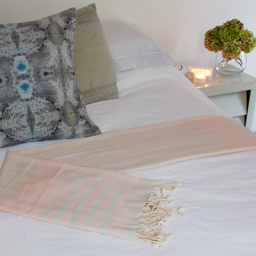 Organic Hammam Towel - Pink and Sage on bed