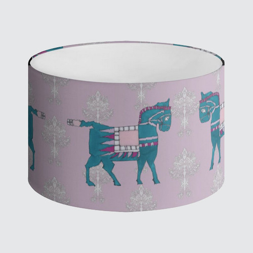 Lampshade 40cm - Pink with Turquoise Horses