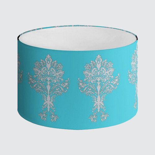 Lampshade 40cm - Turquoise with Damask Pattern