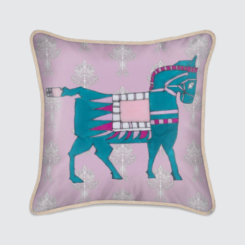 Pink Silk Cushion with Turquoise Horse