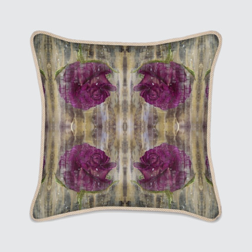 Silk Cushion with Purple Roses