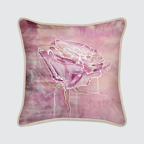 Violet Silk Cushion with Rose