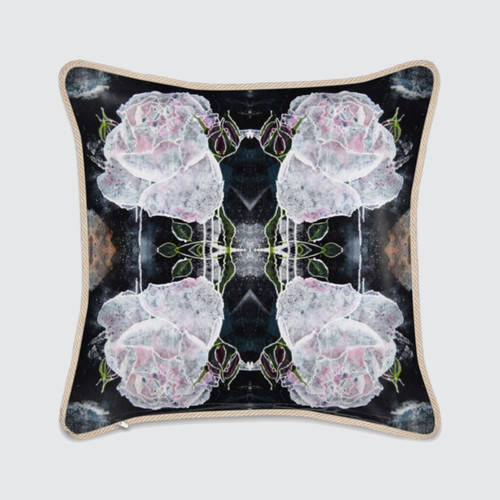 Silk Cushion with White Roses