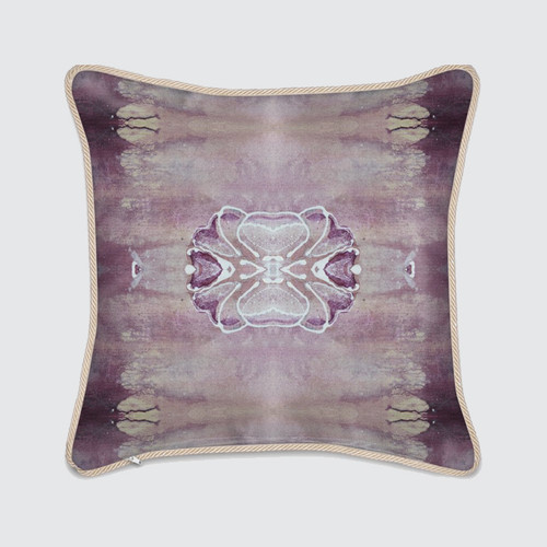 Violet Silk Cushion with Floral Pattern