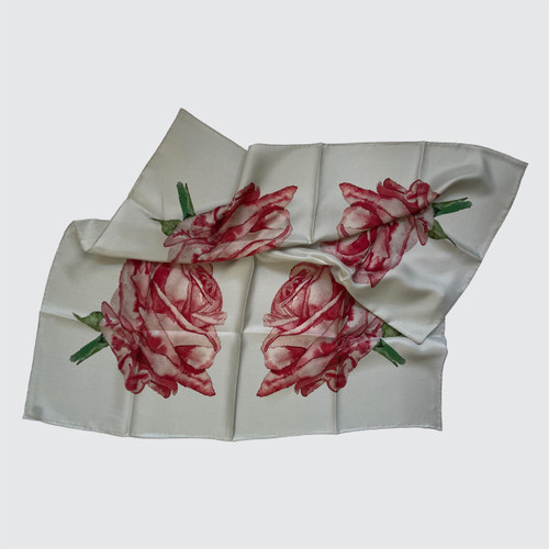 Square silk scarf with watercolour roses