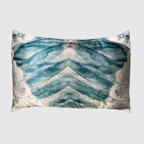 Double sided Aqua real silk Pillowcase with Wing Design