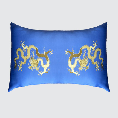 Real Silk Blue Pillowcase with Dragons