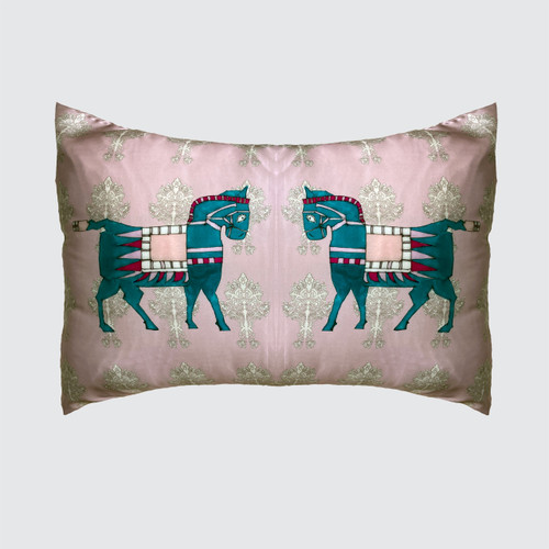 Pink Silk Pillowcase with horses