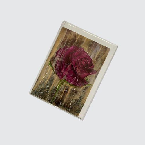 Blank Greetings Card with Purple Rose design in biodegradable cello with envelope