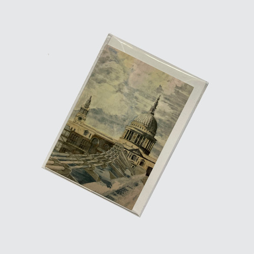 Blank Greetings Card with St Paul's design in biodegradable cello with envelope