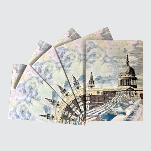 5 Blank Greetings Cards with St Paul's design