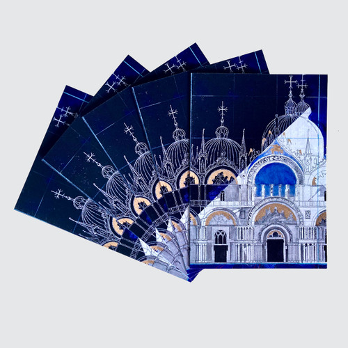 5 Blank Greetings Cards with St Mark's Basilica in Venice design