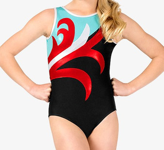 Spliced Pattern Gymnastic Leotard