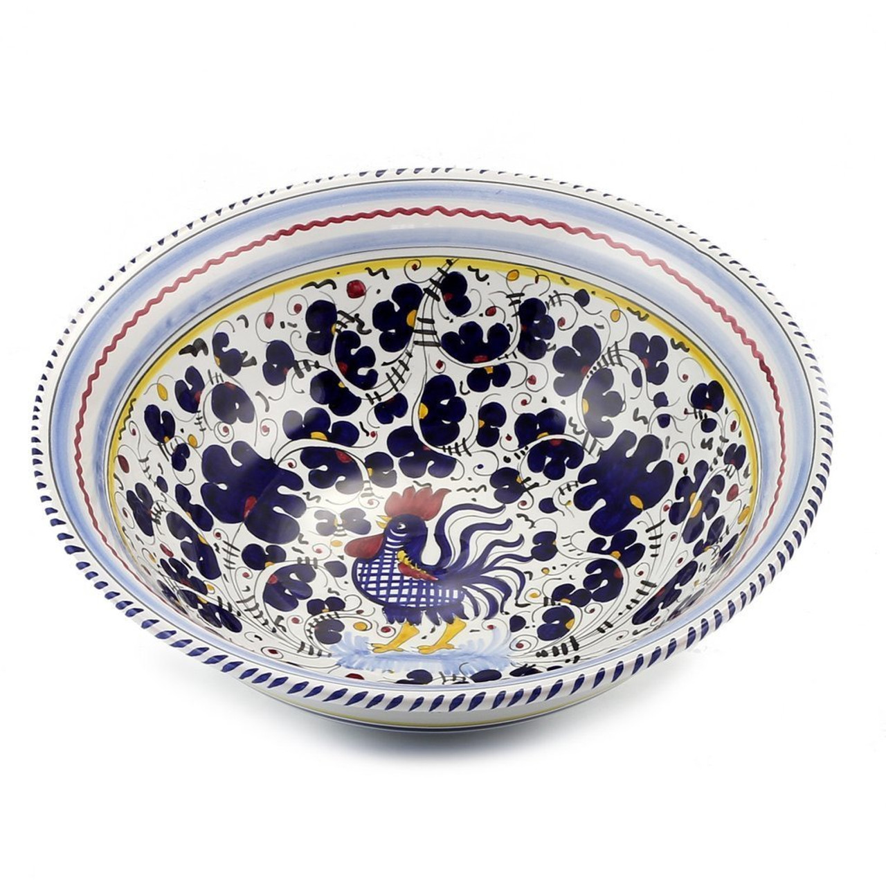 Orvieto Blue Large Pasta Salad Serving Bowl Italian Ceramics