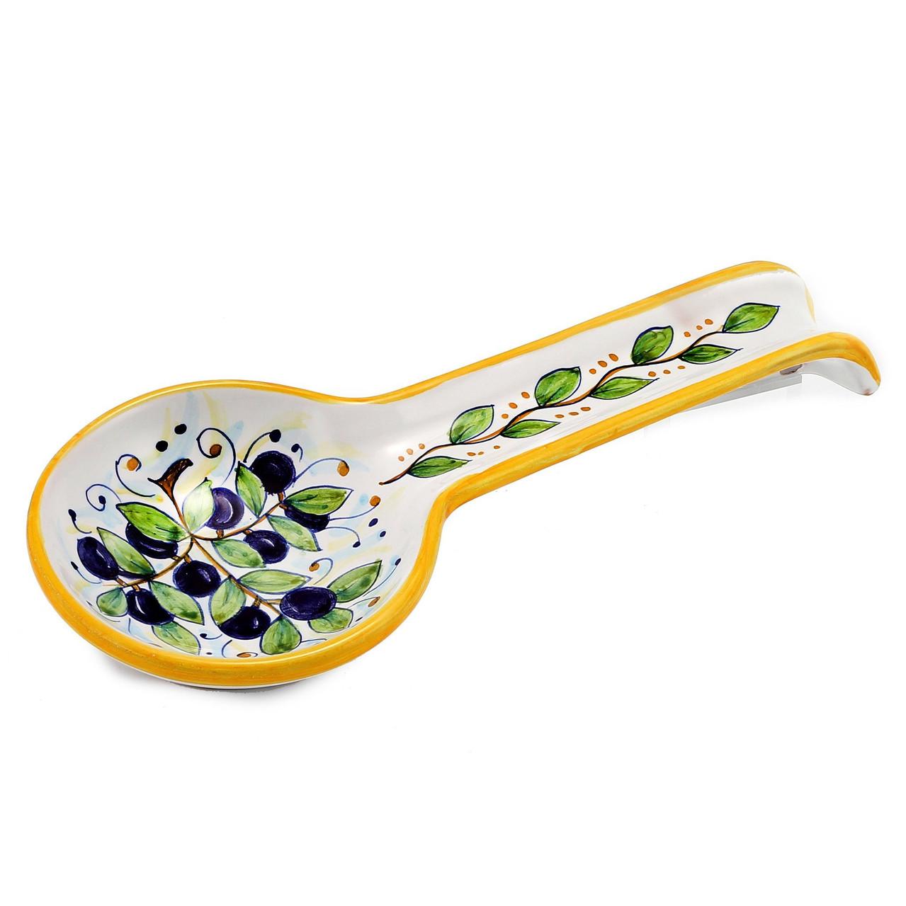 Italian Pottery Spoon Rest Olives