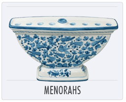 Italian Deruta Pottery Menorahs