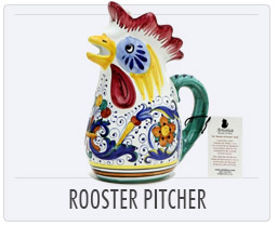 Italian Pottery Rico Rooster Pitcher
