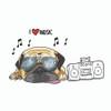 I Love Music Pug Sticker