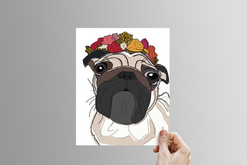 Beige & Yellow Flower-Crown Pug Print