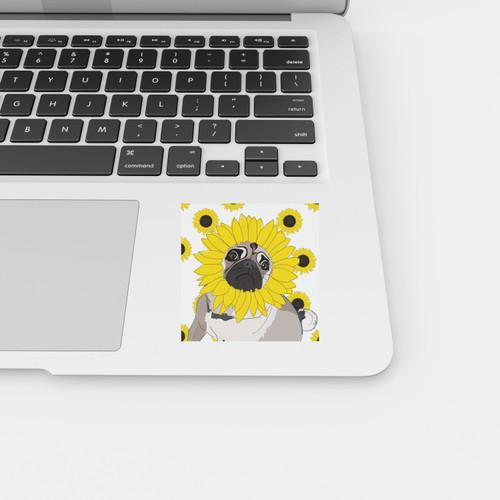 Sunflower Pug Sticker