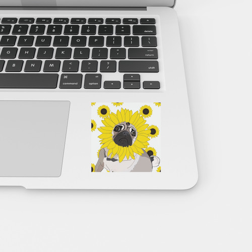 Sunflower Pug Sticker