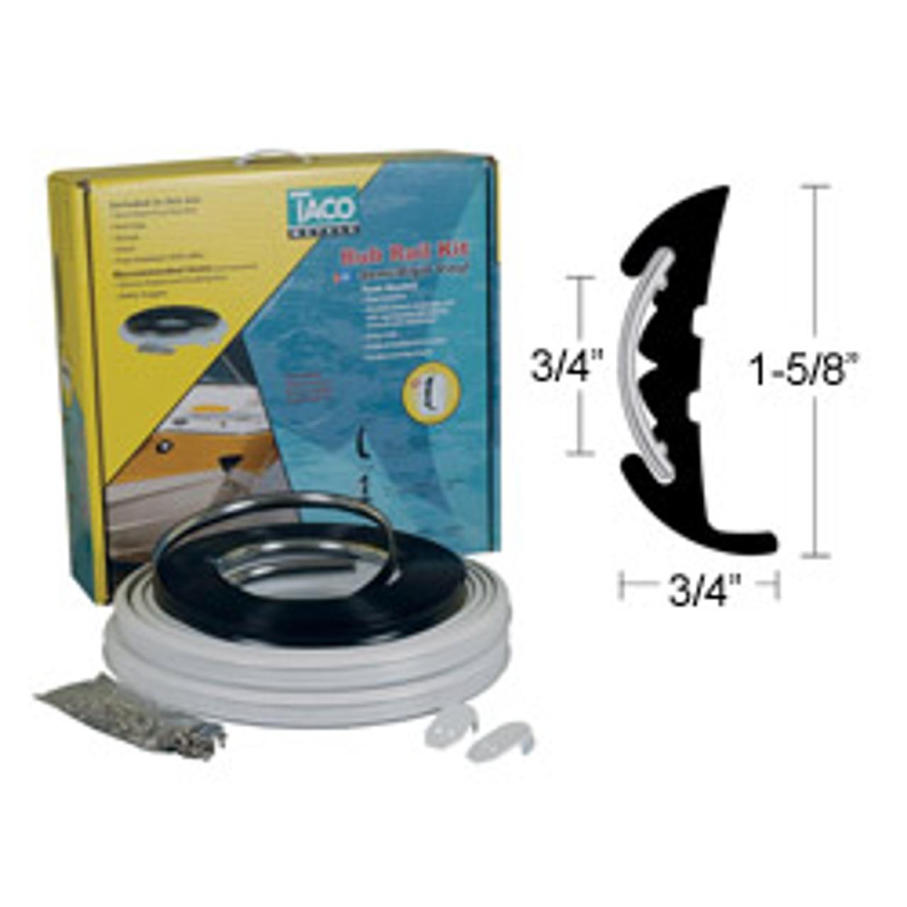 1-5/8'' x 3/4'' Semi-Rigid Vinyl Rub Rail Kit (white) with Flex Chrome  Insert
