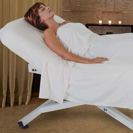 EarthLite Ellora Tilt Stationary Massage Table-in use