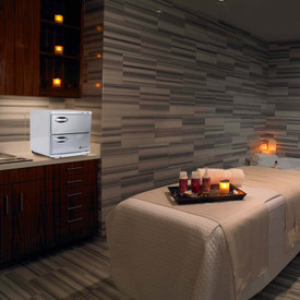 Earthlite Large Double Door UV Hot Towel Cabinet - in room
