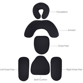 Earthlite Portable Massage Chair Replacement Pads, AVILA II, Black