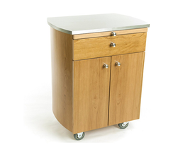 Touch America Rolling Spa Cabinet, TIMBALE, Stainless Steel Top, Cherry