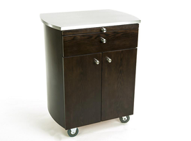 Touch America Rolling Spa Cabinet, TIMBALE, Stainless Steel Top, Wenge