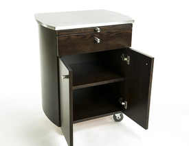Touch America Rolling Spa Cabinet, TIMBALE, Stainless Steel Top, cabinet with shelves