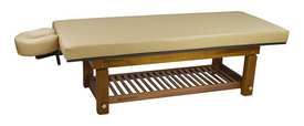 Touch America Outdoor Massage Table, SOLTERRA Teak, with optional shelf