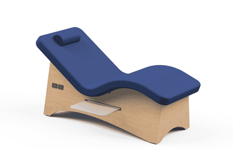 Oakworks Curva Lounger with Ocean Upholstery and Natural Finish