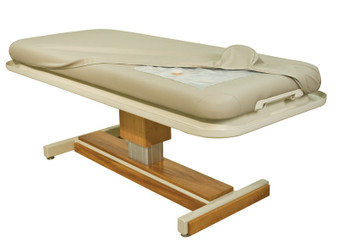 Oakworks Wet Treatment Spa Table, MARINA showing pocket for hot water heater