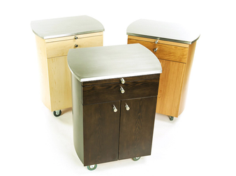 Touch America Rolling Spa Cabinet, TIMBALE, Stainless Steel Top