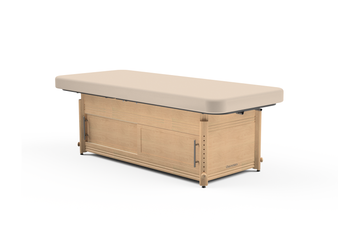Oakworks Massage Table, Manual Adj Flat Top, CLINICIAN - with cabinet base